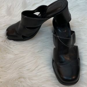 Clarks Shoes Heels Sandals Black 6M Slip On Open